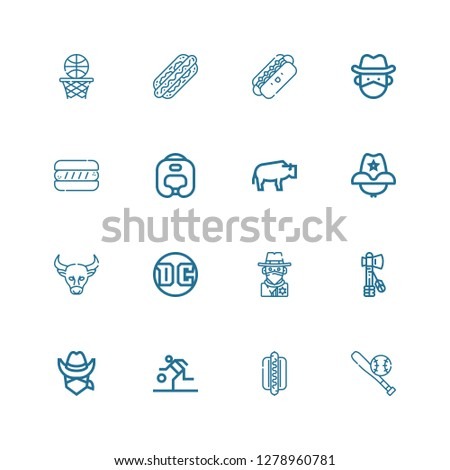Editable 16 american icons for web and mobile. Set of american included icons line Baseball, Hotdog, Basketball, Cowboy, Tomahawk, Dc, Buffalo, Cowboy hat on white background