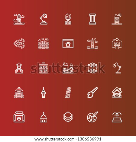 Editable 25 architecture icons for web and mobile. Set of architecture included icons line Fountain, Painting palette, Layer, Tower, Cube, House, Art, Pisa, Fernsehturm berlin on red