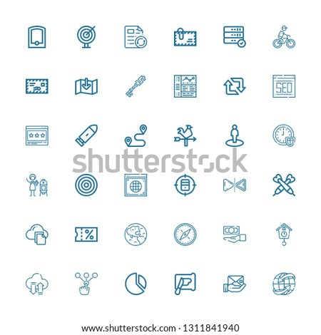 Editable 36 arrow icons for web and mobile. Set of arrow included icons line Worldwide, Envelope, Spreading, Chart, Choice, Transfer, Cuckoo clock, Cash, Compass on white background #1311841940