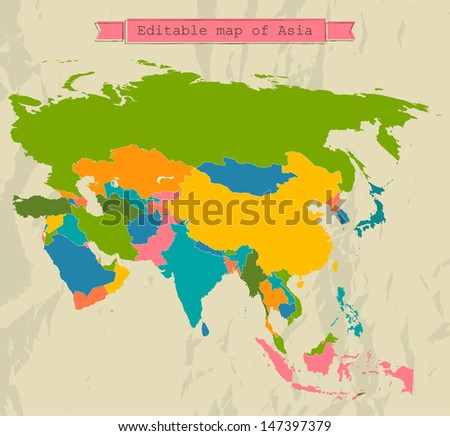 Editable Asia map with all countries. Vector illustration EPS8