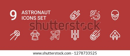 Editable 9 astronaut icons for web and mobile. Set of astronaut included icons line Spaceship, Meteorite, Uranus, Rocket, Ufo, Sputnik, Alien on red background