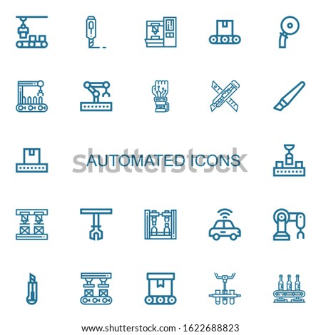 Editable 22 automated icons for web and mobile. Set of automated included icons line Conveyor, Cutter, Robot arm, Robotic arm, Mechanical arm, Autonomous car on white background