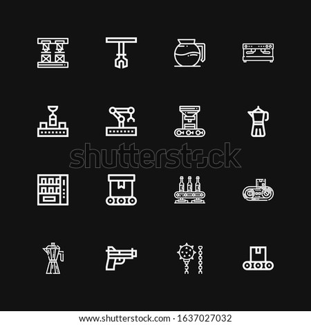 Editable 16 automatic icons for web and mobile. Set of automatic included icons line Conveyor, Weapon, Gun, Coffee maker, Vending machine, Robot arm, Robotic arm on black background