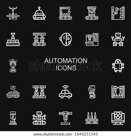 Editable 22 automation icons for web and mobile. Set of automation included icons line Conveyor, Robot, Robot arm, Artificial intelligence, Neural, Autonomous car on black background