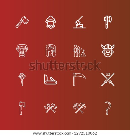 Editable 16 axe icons for web and mobile. Set of axe included icons line Scythe, Axes, Axe, Lance, Penknife, Mace, Viking, Camping, Log, Caveman, Firefighter on red