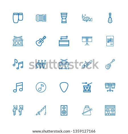 Editable 25 bass icons for web and mobile. Set of bass included icons line Control panel, Cowbell, Woofer, Fishing, Parade, Drum, Plectrum, Quaver, Music, Guitar on white background