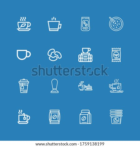 Editable 16 bean icons for web and mobile. Set of bean included icons line Cup, Coffee beans, Coffee, Tea, Seed, Break, Jelly beans, Coffee cup, Red bean soup on blue background