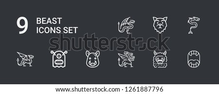 Editable 9 beast icons for web and mobile. Set of beast included icons line Fangs, Monster, Dragon, Boar, Wolf on dark background