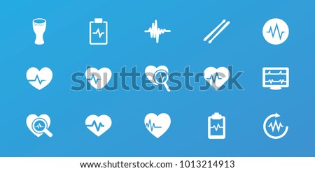 Editable 15 beat icons: heartbeat, heartbeat clipboard, heartbeat search, drum stick, music equalizer