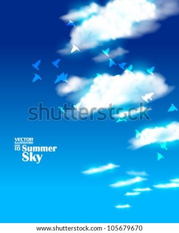 editable beautiful summer and sky with birds vector design