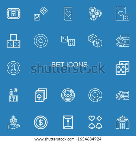 Editable 22 bet icons for web and mobile. Set of bet included icons line Poker table, Dice, Ace, Coin, Dices, Coins, Poker, Casino chip, Casino on blue background