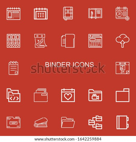 Editable 22 binder icons for web and mobile. Set of binder included icons line Calendar, Contact list, Notebook, Folders, Folder, Upload, Notepad, Staple on red background