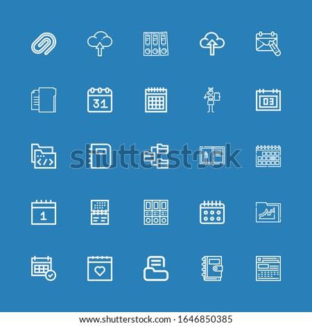 Editable 25 binder icons for web and mobile. Set of binder included icons line Calendar, Notebook, Folder, Folders, Upload, Paper clip on blue background
