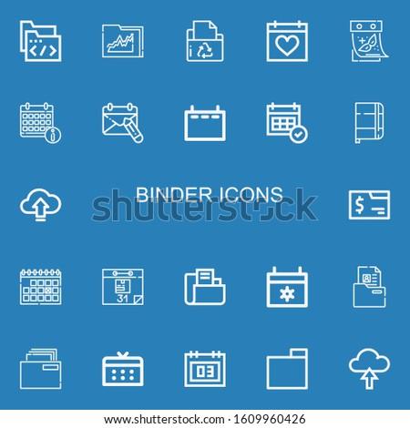 Editable 22 binder icons for web and mobile. Set of binder included icons line Folder, Calendar, Notebook, Upload on blue background