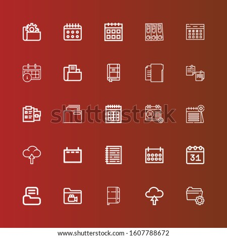 Editable 25 binder icons for web and mobile. Set of binder included icons line Folder, Upload, Notebook, Calendar, Notepad, Contact list, Folders on red