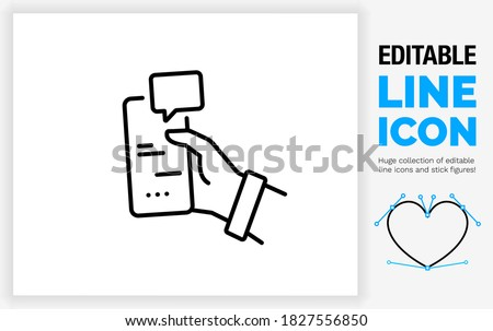 Editable black stroke weight line icon of a man holding his phone in a hand white texting with someone on a message app with the other person typing and sending a text with a speech bubble eps vector