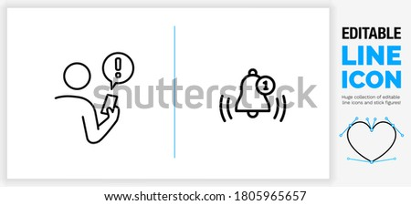 Editable black stroke weight line icon of a stick figure person holding his phone getting a notification alarm bel and exclamation mark in a speech bubble for receiving a new message from a app in eps Сток-фото ©