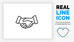 Editable black stroke weight line icon of two business people shaking hands to close a deal for their own succes in a corporate contract congratulating the person of their team as a eps vector symbol