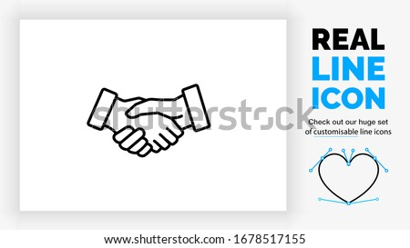 Editable black stroke weight line icon of two business people shaking hands to close a deal for their own succes in a corporate contract congratulating the person of their team as a eps vector symbol Сток-фото ©