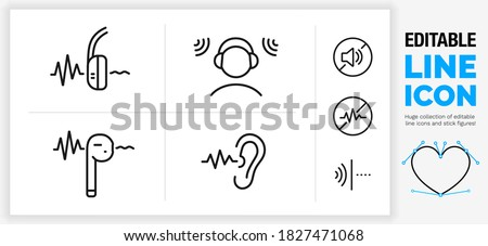 Editable black stroke weight line icon set of a active noise canceling over ear headphone and earplug with a sound wave going trough a stickman person in a loud room wearing a headset in eps vector Foto stock ©