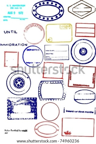 Editable Blank Passport Stamp Vector Graphics