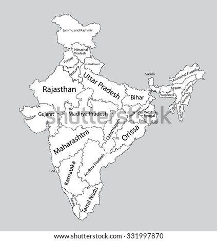 Gujarat blank detailed outline map set - vector version | Free Image ...