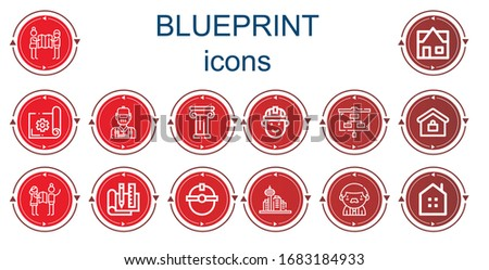 editable 14 blueprint icons for