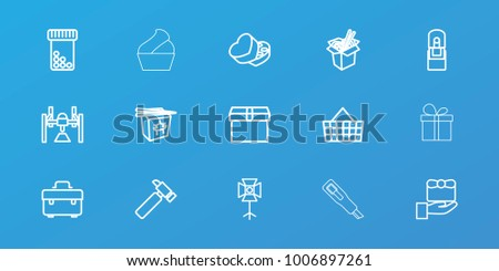 Editable 15 box icons: toolbox, hummer, box, gift, chinese fast food, noodles fast food, bottle pills, shopping bag, office supply, cream, present