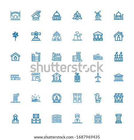 Editable 36 building icons for web and mobile. Set of building included icons line Column, Hotel, Statue, Hangar, Museum, Dutch, Stadium, Sculpture, Tower on white background