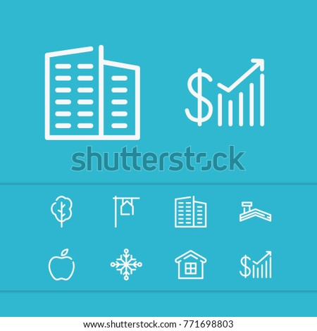 Editable building icons set with flat, home and tree elements. Set of house, roof, building icons and money stats icon concept. Editable vector elements for logo web mobile app UI design.
