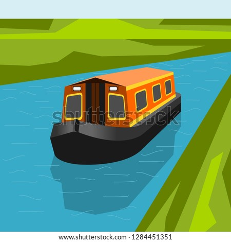 Editable Canal Boat at The River Vector Illustration