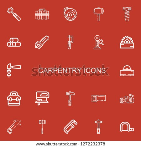 Editable 22 carpentry icons for web and mobile. Set of carpentry included icons line Hammer, Toolbox, Circular saw, Screw, Wood, Saw, Fretsaw, Hacksaw on red background