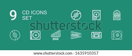 Editable 9 cd icons for web and mobile. Set of cd included icons line Cd, Vhs, Xylophone, Dvd, Jukebox, Hard disc, Compact disc on green background
