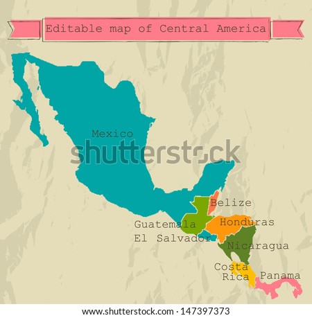 editable central america map...