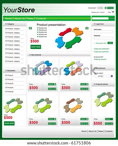 Editable, clean web shop template