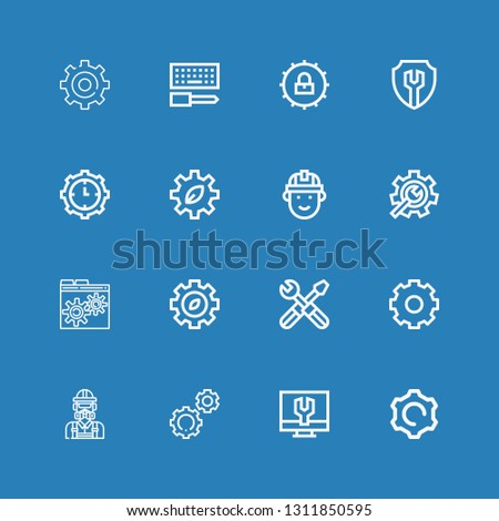 Editable 16 cogwheel icons for web and mobile. Set of cogwheel included icons line Settings, Engineer, Gear, Setting, Engineering, Cogwheel, Configuration on blue background #1311850595