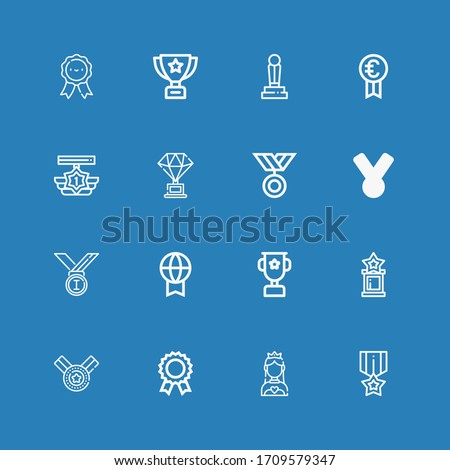 Editable 16 contest icons for web and mobile. Set of contest included icons line Medal, Miss world, Prize, Trophy, Medals on blue background