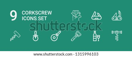Editable 9 corkscrew icons for web and mobile. Set of corkscrew included icons line Corkscrew, Wine, Bottle opener, Pizza cutter, Swiss army knife on green background