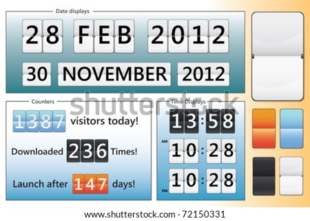 editable date, clock and counter design in different colors