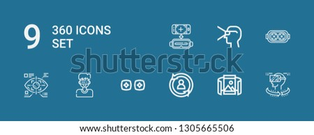 Editable 9 360 degree icons for web and mobile. Set of 360 included icons line Vr, Panoramic view, Rotate, Virtual reality, Eye tap, Augmented reality on blue background