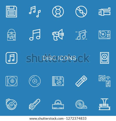 Editable 22 disc icons for web and mobile. Set of disc included icons line Diskette, Music, DJ, Cd, Brake, Vinyl, Parabolic, Turntable, Hard disk, Floppy disk on blue background