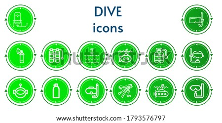 Editable 14 dive icons for web and mobile. Set of dive included icons line Oxygen, Diving mask, Oxygen tank, Underwater, Submarine, Snorkel, Aqualung, Diving, Scuba diving, Dive