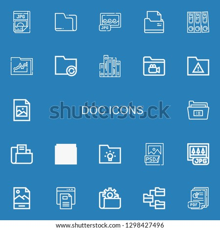 Editable 22 doc icons for web and mobile. Set of doc included icons line Jpg, Folder, Folders, Jpeg, Psd file, Text file, Pdf on blue background