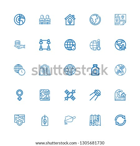 Editable 25 earth icons for web and mobile. Set of earth included icons line Reuse, Map, Soil, Recyclable, Website, Tsunami, Sputnik, Satellite, Venus, Gps on white background