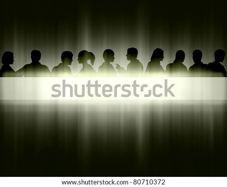 Editable eps10 vector illustration of people's head silhouettes and text banner