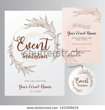 editable event invitations with elegant elegant flower lines, for print-ready invitation templates