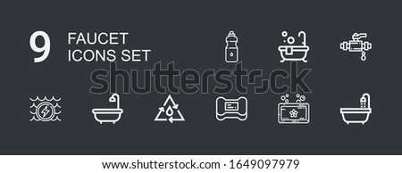 Editable 9 faucet icons for web and mobile. Set of faucet included icons line Bathtub, Soap, Water, Bath, Pipe on dark background