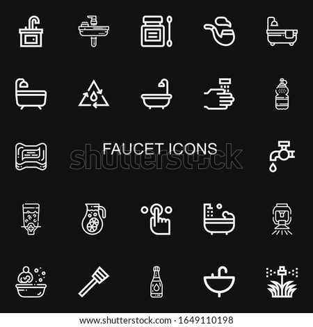 Editable 22 faucet icons for web and mobile. Set of faucet line icons including: Sink, Antiseptic, Pipe, Bathtub, Bath, Water, WASHING HANDS, Soap, Tap, Dispenser on black background
