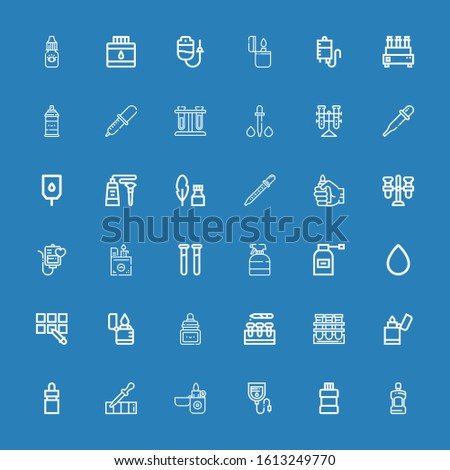 Editable 36 fluid icons for web and mobile. Set of fluid included icons line Mouthwash, Blood bag, Lighter, Pipette, Eye dropper, Tube, Test tube, Ink, Blood drop on blue background