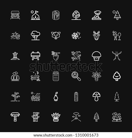 Editable 36 forest icons for web and mobile. Set of forest included icons line Trees, Pine tree, Volcano, Fern, Bamboo, Palm tree, Tree, Mushroom, Sleeping bag on black background